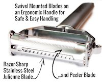 2 - UberChef® Ultra Sharp Stainless Steel Julienne Peeler & Vegetable Peeler2